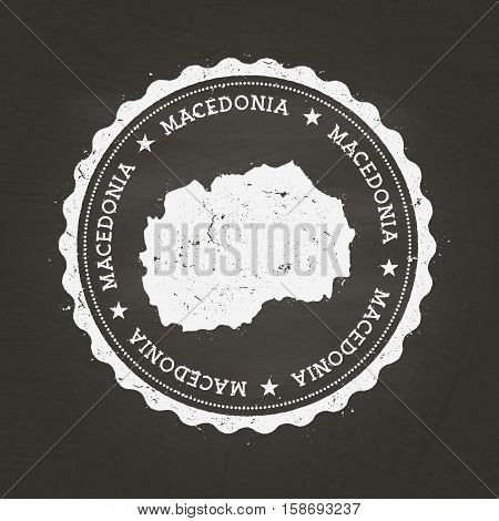 White Chalk Texture Rubber Stamp With Former Yugoslav Republic Of Macedonia Map On A School Blackboa