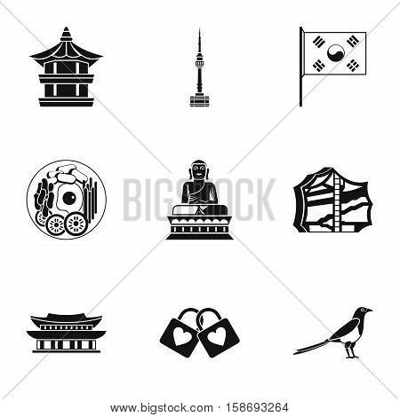 Tourism in South Korea icons set. Simple illustration of 9 tourism in South Korea vector icons for web