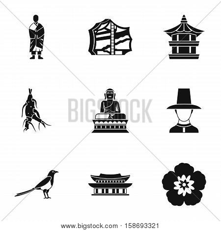 Country of South Korea icons set. Simple illustration of 9 country of South Korea vector icons for web