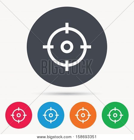 Target icon. Crosshair aim symbol. Colored circle buttons with flat web icon. Vector