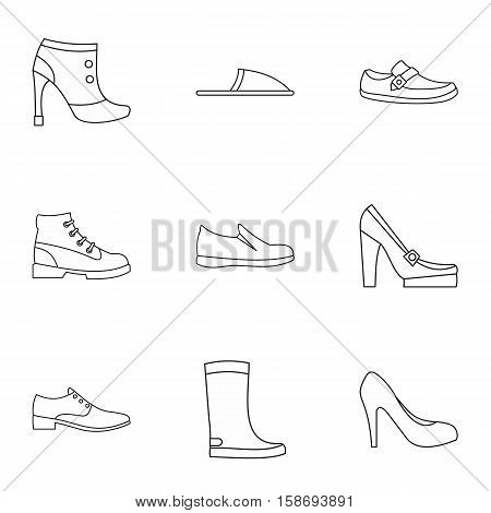 Shoes icons set. Outline illustration of 9 shoes vector icons for web