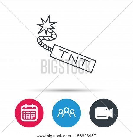 TNT dynamite icon. Bomb explosion sign. Group of people, video cam and calendar icons. Vector