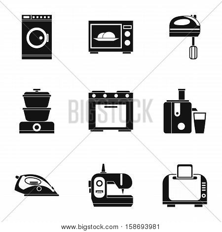Home appliances icons set. Simple illustration of 9 home appliances vector icons for web