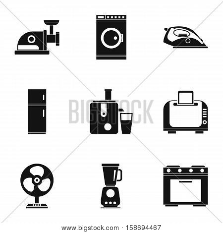 Appliances icons set. Simple illustration of 9 appliances vector icons for web