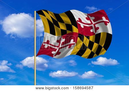 Flag of the US state of Maryland. American patriotic element. USA banner. United States of America symbol. Maryland official flag on flagpole waving in the wind blue sky background. Fabric texture. 3D rendered illustration