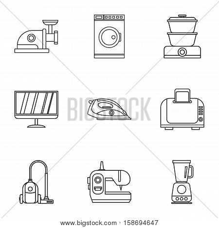 Home appliances icons set. Outline illustration of 9 home appliances vector icons for web