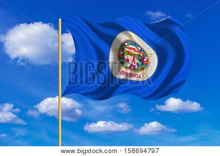 Flag of the US state of Minnesota. American patriotic element. USA banner. United States of America symbol. Minnesotan official flag on flagpole waving in the wind blue sky background. Fabric texture. 3D rendered illustration