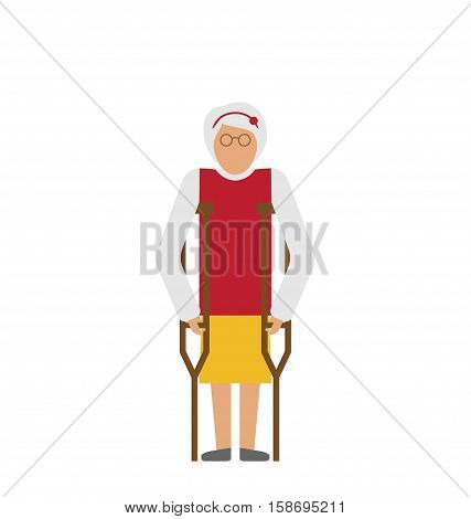 Illustration Older Woman with Crutches. Disability, Elderly, Grandmother. Colorful Icon Isolated on White Background - raster