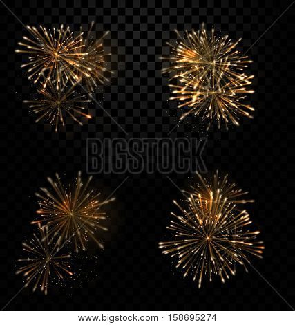 Illustration Festive Set Fireworks Salute on Transparent Background - raster