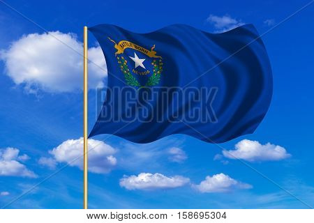 Flag of the US state of Nevada. American patriotic element. USA banner. United States of America symbol. Nevadan official flag on flagpole waving in the wind blue sky background. Fabric texture. 3D rendered illustration