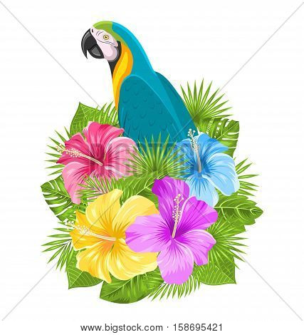 Illustration Parrot Ara, Colorful Hibiscus Flowers Blossom and Tropical Leaves, Isolated on White Background - raster