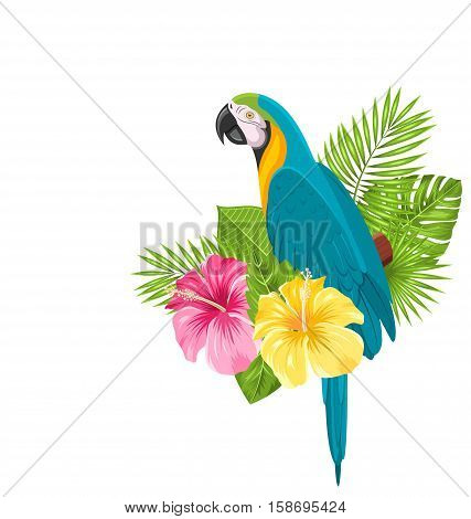 Illustration Parrot Ara, Colorful Exotic Flowers Blossom and Tropical Leaves, Isolated on White Background - raster