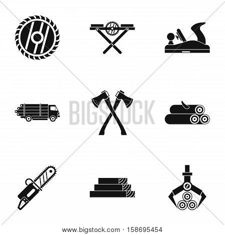 Firewood icons set. Simple illustration of 9 firewood vector icons for web