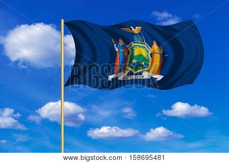 Flag of the US state of New York. American patriotic element. USA banner. United States of America symbol. New Yorker official flag on flagpole waving in the wind blue sky background. Fabric texture. 3D rendered illustration