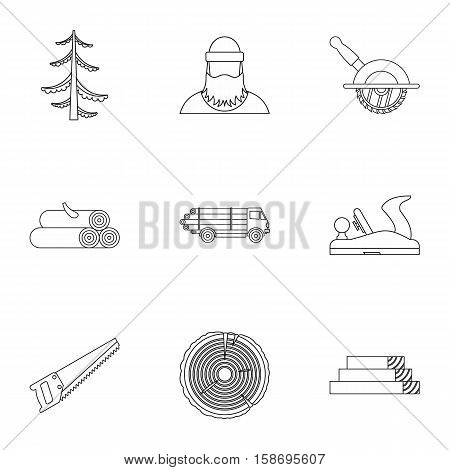 Firewood icons set. Outline illustration of 9 firewood vector icons for web