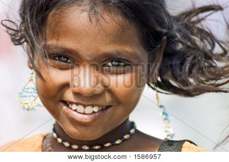 Portrait Of A Laughing Girl Tamil Nadu