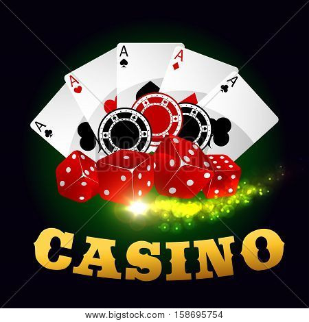 Casino vector poster. Poker cards, gaming dices, bet chips, ace spades. Gambling poker game on green casino table background