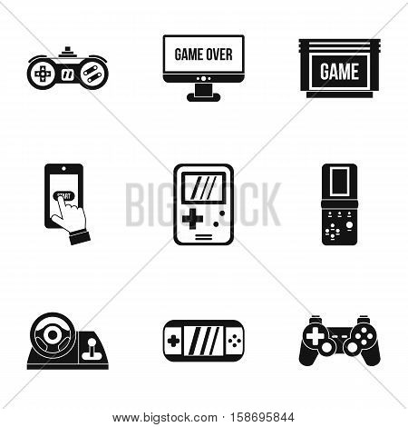Game console icons set. Simple illustration of 9 game console vector icons for web
