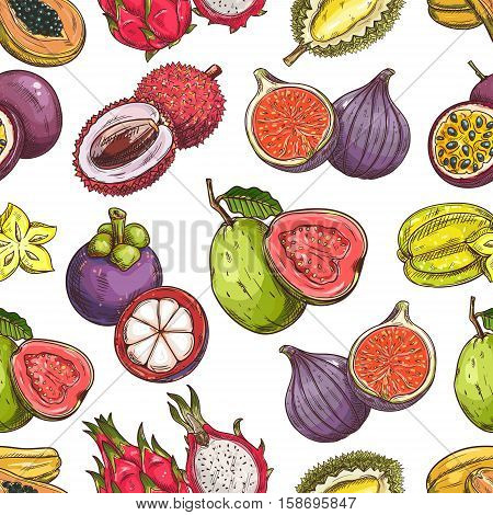 Fruits pattern. Vector seamless background of fresh exotic and tropical fruits. Whole and cut sliced durian, figs, carambola, dragon fruit, guava, lychee, passion fruit maracuya, papaya
