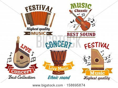 Musical instruments vector isoloated icons for music festival or folk concert. Badges of harmonica accordion, flute, violin, contrabass, music notes clef, ethnic djembe drum, string bandura, lute, zither, ribbons