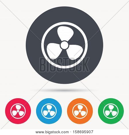 Ventilation icon. Air ventilator or fan symbol. Colored circle buttons with flat web icon. Vector