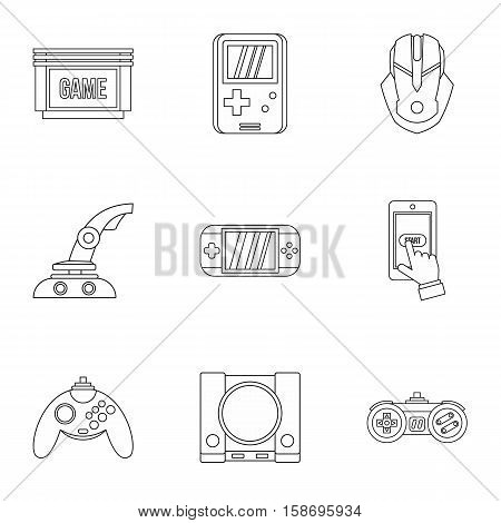 Game console icons set. Outline illustration of 9 game console vector icons for web