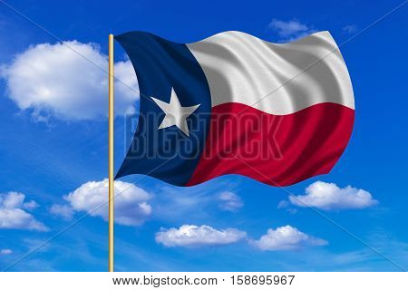 Flag of the US state of Texas. American patriotic element. USA banner. United States of America symbol. Texan official flag on flagpole waving in the wind blue sky background. Fabric texture. 3D rendered illustration