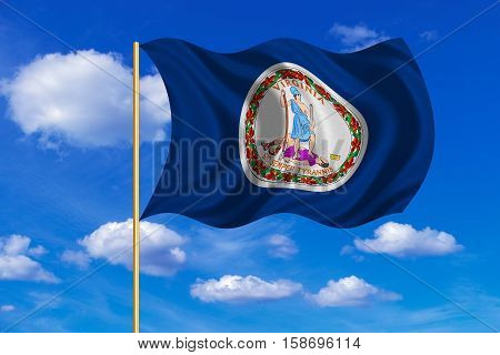 Flag of the US state of Virginia. American patriotic element. USA banner. United States of America symbol. Virginian official flag on flagpole waving in the wind blue sky background. Fabric texture. 3D rendered illustration