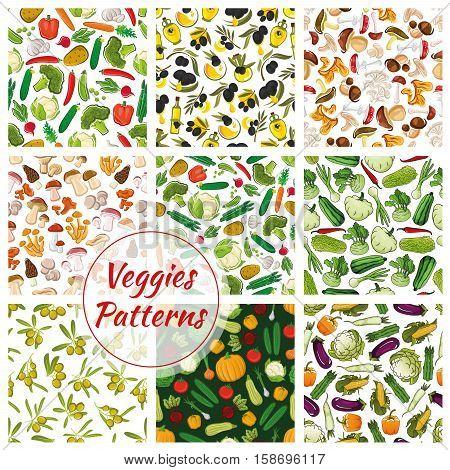 Set of vector seamless background of vegetables. Fresh vegan organic olive and cabbage, champignon mushroom, pumpkin, cauliflower, chanterelle and garlic, morel and cucumber, cep, tomato and pepper, amanita, potato, broccoli