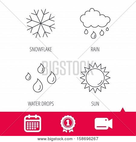 Achievement and video cam signs. Snowflake, sun and rain icons. Water drops linear sign. Calendar icon. Vector
