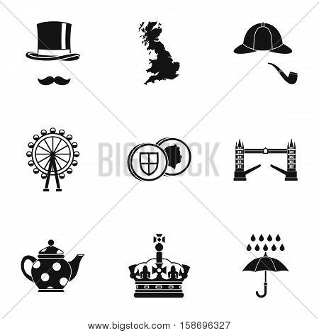 Holiday in United Kingdom icons set. Simple illustration of 9 holiday in United Kingdom vector icons for web