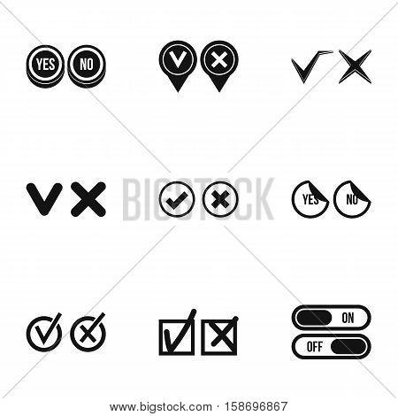 Choice icons set. Simple illustration of 9 choice vector icons for web