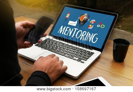 Mentoring Career Growth, Progress And Potential Concepts ,  Working Together Mentoring , Mentoring C