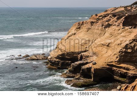Cliffs and sea birds at the Point Loma tidepools in San Diego, California.