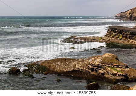 Eroded rock formations at the Point Loma tidepools in San Diego, California.