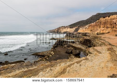 Point Loma, California, eroded cliffs and tidepools.