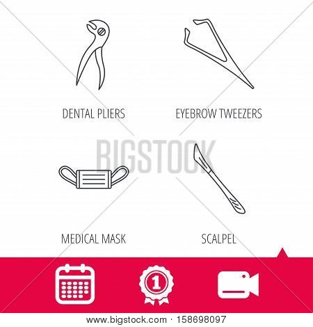 Achievement and video cam signs. Medical mask, scalpel and dental pliers icons. Eyebrow tweezers linear sign. Calendar icon. Vector