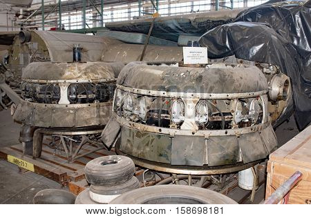 DAYTON, OHIO, USA-NOVEMBER 18, 2016:National Museum USAF is restoring WWII The Swoose Flying Fortress bomber, the oldest B-17 & only D model in existence. The 1200HP engines are shown here in storage.