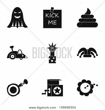 April fool day icons set. Simple illustration of 9 april fool day vector icons for web