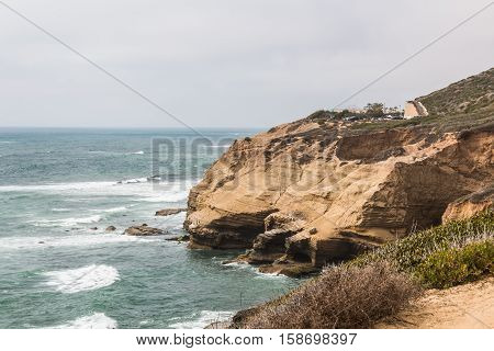 Cliffs with sea birds and tidepools at the Cabrillo National Monument in San Diego, California.