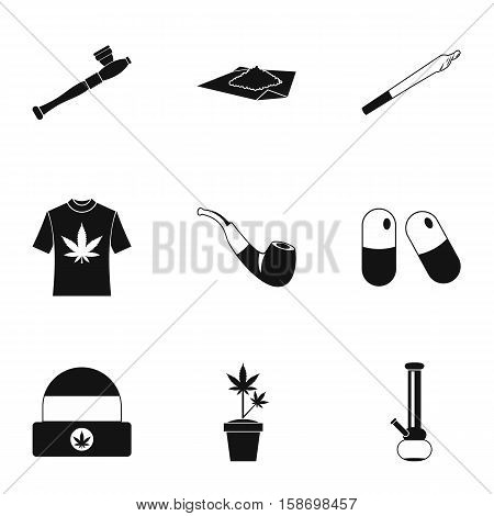 Cannabis icons set. Simple illustration of 9 cannabis vector icons for web