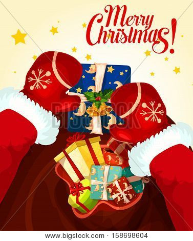 Santa Claus with gift bag Christmas greeting card. Santa in red gloves holding present box, decorated by ribbon bow, holly berry, bell and star. Merry Christmas, New Year and winter holidays design
