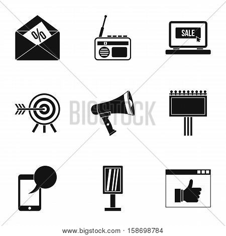 Contextual advertising icons set. Simple illustration of 9 contextual advertising vector icons for web