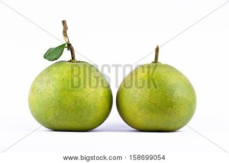 Couple fresh green pomelos peeled on white background healthy fruit food isolated