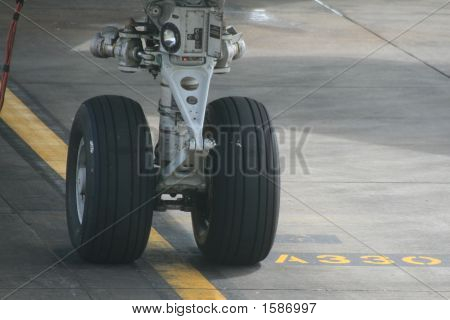 This is the nose wheel of a 747 Jumbo