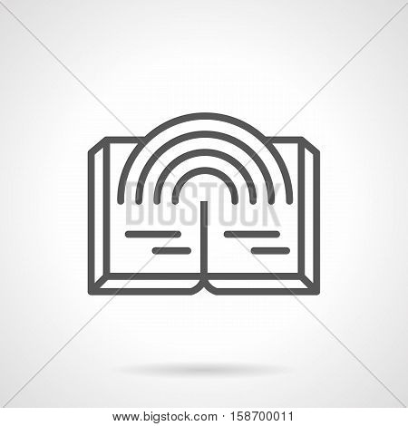 Abstract symbol of open book with rainbow. Publication of fantasy literature, reading mysterious, magical stories. E-bookstores and web library. Single black simple line design vector icon.