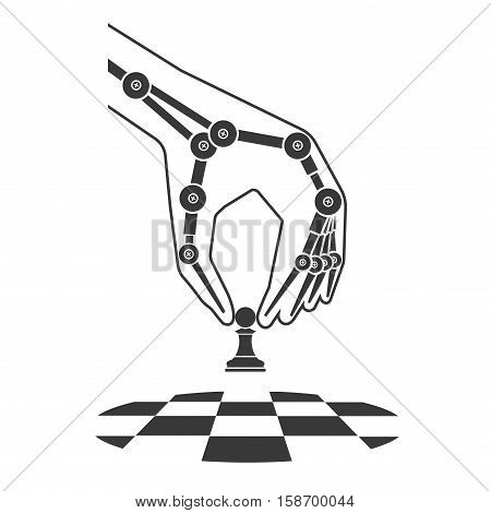On the image presented Robot plays chess. Icon artificial intelligence