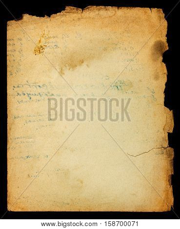 Vintage textured messy paper page with ragged edges and ink text stamp