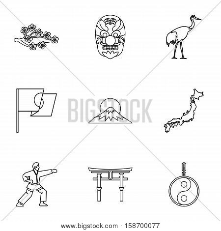 Japan icons set. Outline illustration of 9 Japan vector icons for web