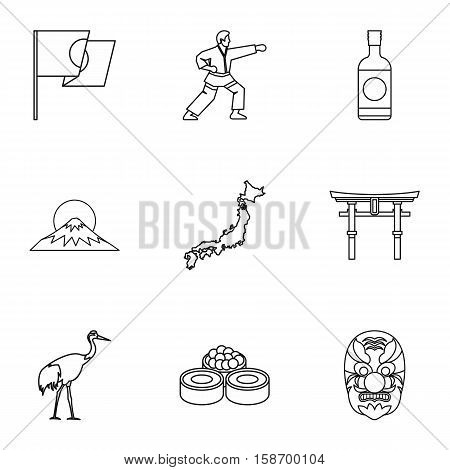 Country Japan icons set. Outline illustration of 9 country Japan vector icons for web